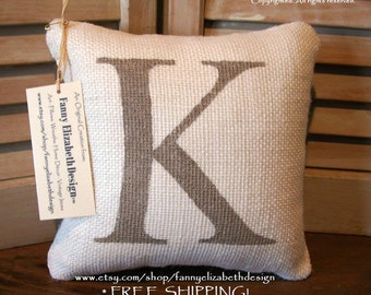Small Burlap Initial Pillow- Baby Shower Gift- Decorative Pillows- Burlap Pillow- Gift- Accent Pillow- Letter Pillow