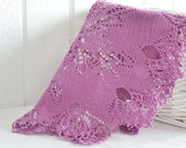 Knitted doily , purple  tablecloth ,  vintage Swedish handmade doily