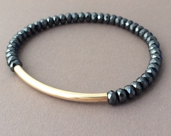 Gold or Silver Bar Large Black Hematite Stone Layer Beaded Bracelet