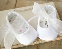 Plain WHITE or IVORY baby girl shoes, christening, baptism ballerina shoes, party shoes, other COLORS available!