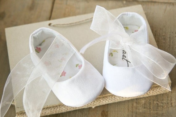 20 Off Plain White Or Ivory Baby Girl Shoes Christening