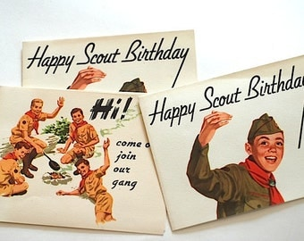 Antique Happy Birthday Cards - Vintage Boy Scout Troop Cards - Birthday Card For BOY -Mid Century 1950's Happy Birthday Card, Boy Scout Card
