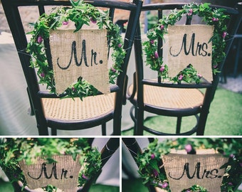 MR AND MRS Chair Sign, Wedding Chair Signs, Wedding Chair Decor, Burlap Wedding Signs, Rustic Wedding Signs, Wedding Decor, Wedding Photo