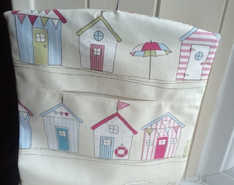 Peg bag in beach hut Scottie owl rose fabric handmade peg bag