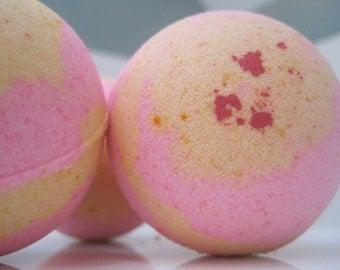 2 Pink Grapefruit Bath Bombs with Handmade Soap Inside