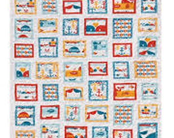 Area Code Quilt - Lunden Quilt Designs - Modern Quilting Pattern - Uses Birch's Marine Too Fabric