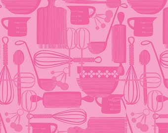 Kitchy Kitchen - Utensils in Pink - Maude Asbury for Blend Fabrics - 1/2 Yard