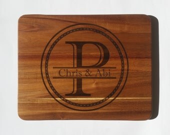 PERSONALIZED CUTTING BOARD / Establishment Monogram cutting board Carved from Acacia Wood