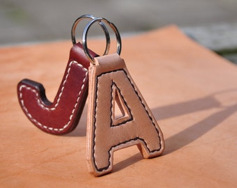 Handmade Genuine Leather 'Initial' Keyring