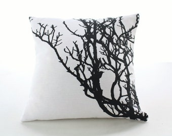 White CUSHION with black tree branch screenprinted - Hand printed PILLOW CASE