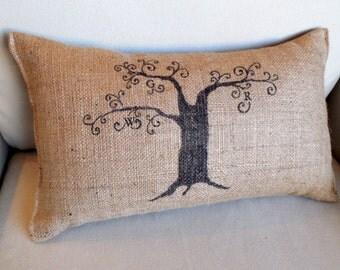 a Family Tree natural burlap 11 x 19 lumbar pillow