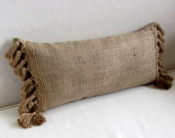 natural burlap lumbar style toss pillow with burlap tassel fringe
