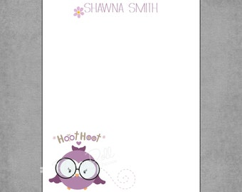 Notepad - Academic Purple Owl with Glasses in Flight - Assorted Colors Available - Personalized Custom - Letterhead with Flower - Shawna**