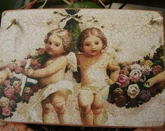 French shabby chic cherubs with roses, vintage image applied to wood & sealed, small gift idea