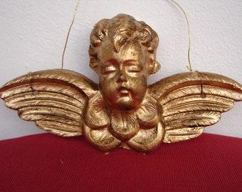 Vintage Christmas decoration,Victorian cherub,old,gilt finish.Christmas tree ornament