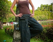 Thai Fisherman Pants, Cotton, Black UNISEX