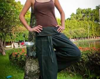 Thai Fisherman Pants, Cotton, Black UNISEX