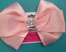 Light Pink  Satin Bow with crown bling Centerpiece