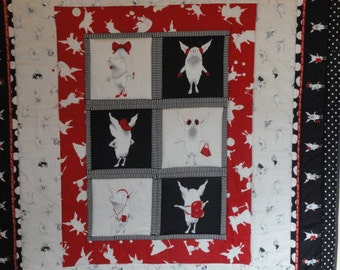 Olivia OOAK Handmade Quilt.  Patchwork Original design Quilt.  Authentic Fabric.  Gorgeous Colors, Black, red and White.