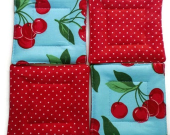 Cherry Drink Coasters, Hostess Gift, Quilted Coaster Set, Cherry Coaster Set, Drink Coasters, Beverage Coasters, Coasters, Wedding Gift