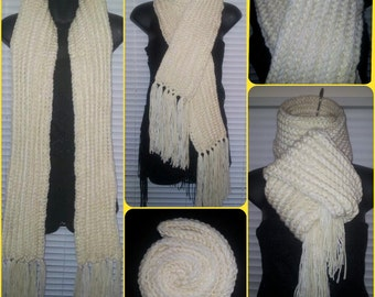 Cream & White Kiy'Bu Scarf - Crochet scarf with fringe - Made To Order