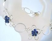 Daisy Bracelet Metal Flower Blue Crystal vibrant glass stone 7 inch Bracelet Ladies Jewellery Gifts for her