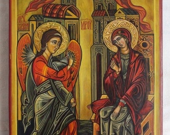 The Annunciation. Byzantine icon handmade painted. Romanian icon Greek Only on demand.