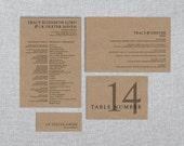 Printable Wedding Reception Set - Simply Love - Program, Menu, Place Card, Table Number