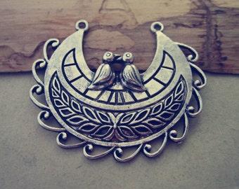 5pcs of Antique Silver bird  Pendant charm 43mmx50mm