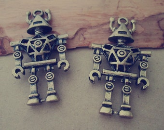 4pcs of  Antique bronze hollow out double sided Robot pendant charm 24mmx45mm