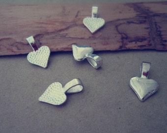 30pcs silver color  Heart Bails pendant connector  10mm x16mm