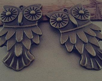2pcs  Antique Bronze owl pendant Charms 42mmx70mm