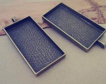 5pcs 25mm x49mm Antique Bronze rectangle Pendant Base