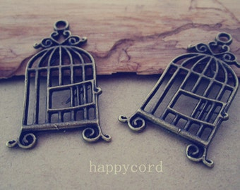20pcs Antique bronze birdcage Pendant charm 20mmx33mm