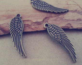 25pcs antique Bronze Double sided wings Charms pendant 10mmx31mm