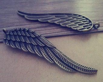 5pcs antique bronze wing pendant Charm 21mmx77mm