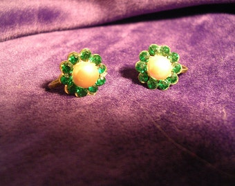 Vintage Sterling  Earrings with Green Stones and Faux Pearl.. Screw backs.