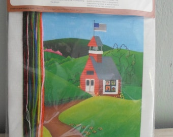 """Sunset """"QUILTED SCHOOLHOUSE"""" Country Flag Hills Stitchery Embroidery Kit *NEW*"""