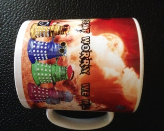 Dr Who Daleks as Tourists on Gallifrey Mug