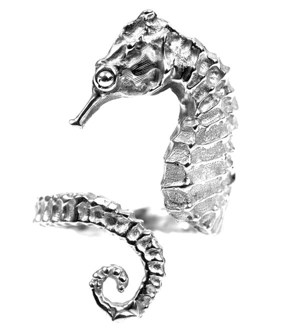 Sterling silver Sea horse ring.unique pieze.Handmade in Europe(Spain).Anillo CABALLITO DE MAR.