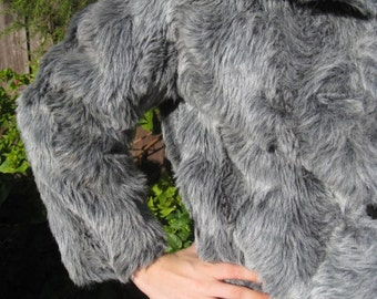 1970s shaggy grey 'Ricky' faux fur  jacket - Sz M