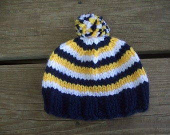 Navy Blue,Gold,White,Pom-Pom,Photo Prop,Gift,Hat,Baby,Boys,Girls,Hand Knit,Newborn,Three Months
