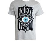 Blue devil evil eye vintage grey tshirt