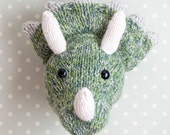 Dinosaur Head - Children's Hand Knitted Triceratops Wall Art
