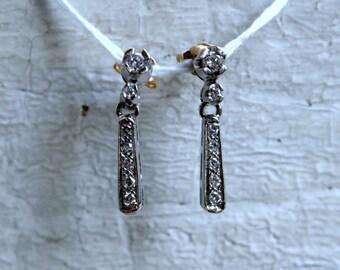 Vintage 14K White Gold Diamond Dangle Earrings - 0.39ct.