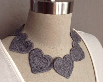 Grey Embroidered Heart Necklace