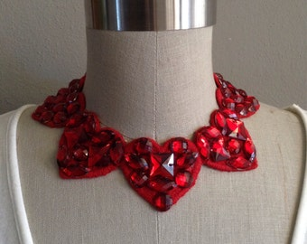 Red Rhinestone Embroidered Heart Necklace with an Adjustable Bow Closure