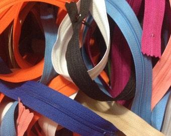 Zipper lot  - 45 zippers - 9 colors - lengths vary - Orange black blue white green