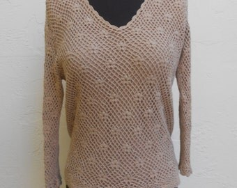 Vintage Beige Crocheted  Flowers Sweater with Lining