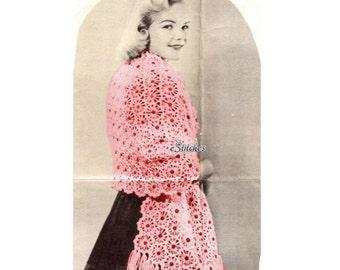 1960s Crazy Daisy Stole or Shawl - Daisy Knitter PDF pattern 3522